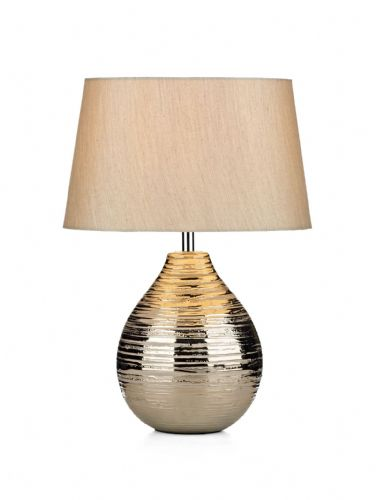 Gustav Silver finish Small Table Lamp complete with shade GUS4032 (Class 2 Double Insulated)